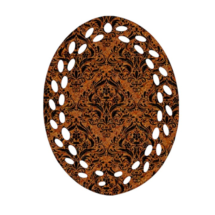 DAMASK1 BLACK MARBLE & RUSTED METAL Oval Filigree Ornament (Two Sides)