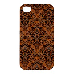 Damask1 Black Marble & Rusted Metal Apple Iphone 4/4s Hardshell Case by trendistuff
