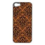 DAMASK1 BLACK MARBLE & RUSTED METAL Apple iPhone 5 Case (Silver) Front