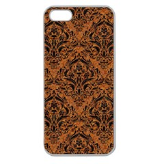 Damask1 Black Marble & Rusted Metal Apple Seamless Iphone 5 Case (clear) by trendistuff