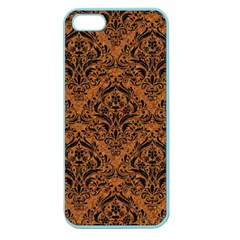 Damask1 Black Marble & Rusted Metal Apple Seamless Iphone 5 Case (color) by trendistuff
