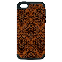 Damask1 Black Marble & Rusted Metal Apple Iphone 5 Hardshell Case (pc+silicone) by trendistuff