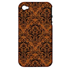 Damask1 Black Marble & Rusted Metal Apple Iphone 4/4s Hardshell Case (pc+silicone) by trendistuff