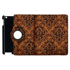 DAMASK1 BLACK MARBLE & RUSTED METAL Apple iPad 3/4 Flip 360 Case