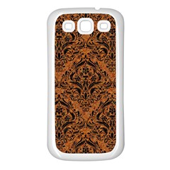 DAMASK1 BLACK MARBLE & RUSTED METAL Samsung Galaxy S3 Back Case (White)