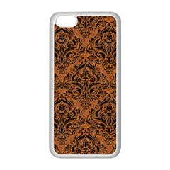Damask1 Black Marble & Rusted Metal Apple Iphone 5c Seamless Case (white) by trendistuff