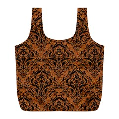 Damask1 Black Marble & Rusted Metal Full Print Recycle Bags (l)