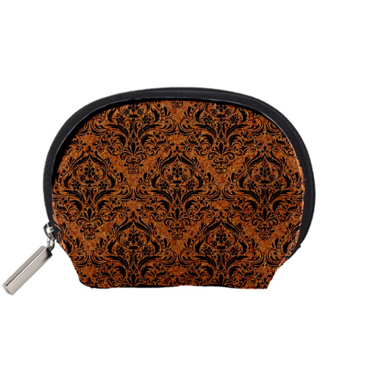 DAMASK1 BLACK MARBLE & RUSTED METAL Accessory Pouches (Small)