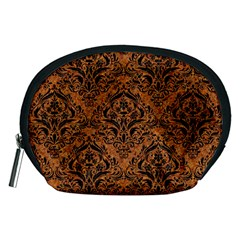 DAMASK1 BLACK MARBLE & RUSTED METAL Accessory Pouches (Medium)