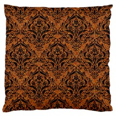 Damask1 Black Marble & Rusted Metal Large Flano Cushion Case (one Side) by trendistuff