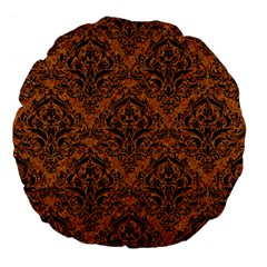 Damask1 Black Marble & Rusted Metal Large 18  Premium Flano Round Cushions by trendistuff