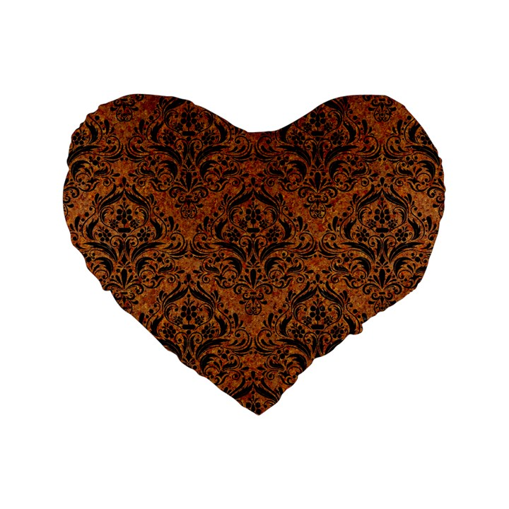DAMASK1 BLACK MARBLE & RUSTED METAL Standard 16  Premium Flano Heart Shape Cushions
