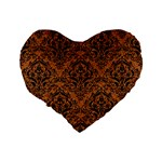 DAMASK1 BLACK MARBLE & RUSTED METAL Standard 16  Premium Flano Heart Shape Cushions Back