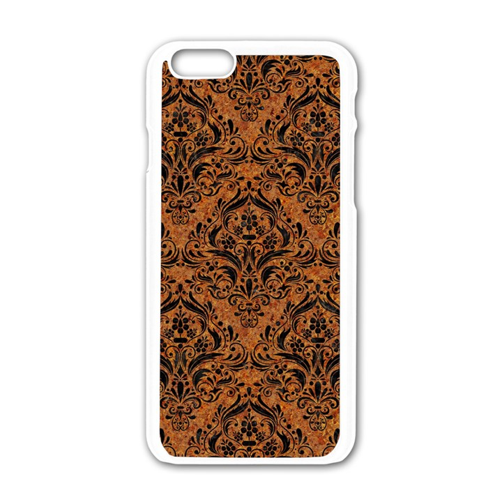 DAMASK1 BLACK MARBLE & RUSTED METAL Apple iPhone 6/6S White Enamel Case