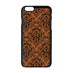 Damask1 Black Marble & Rusted Metal Apple Iphone 6/6s Black Enamel Case by trendistuff