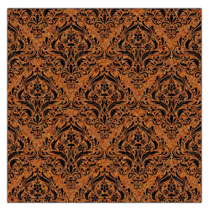 DAMASK1 BLACK MARBLE & RUSTED METAL Large Satin Scarf (Square)