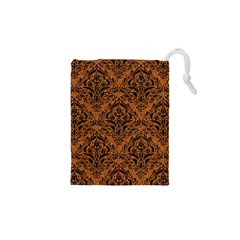 Damask1 Black Marble & Rusted Metal Drawstring Pouches (xs)