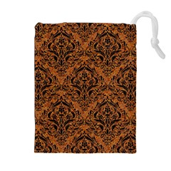 Damask1 Black Marble & Rusted Metal Drawstring Pouches (extra Large) by trendistuff