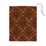DAMASK1 BLACK MARBLE & RUSTED METAL Drawstring Pouches (Extra Large) Front