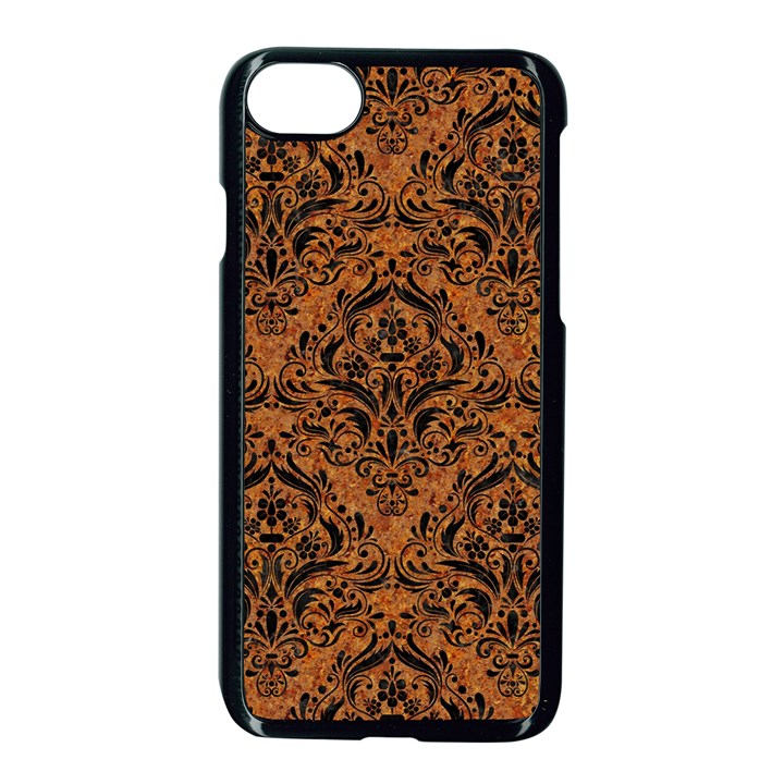DAMASK1 BLACK MARBLE & RUSTED METAL Apple iPhone 7 Seamless Case (Black)