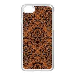 Damask1 Black Marble & Rusted Metal Apple Iphone 7 Seamless Case (white) by trendistuff