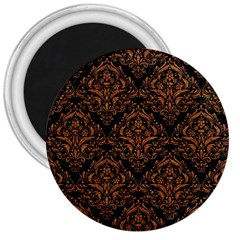 Damask1 Black Marble & Rusted Metal (r) 3  Magnets