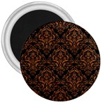 DAMASK1 BLACK MARBLE & RUSTED METAL (R) 3  Magnets Front