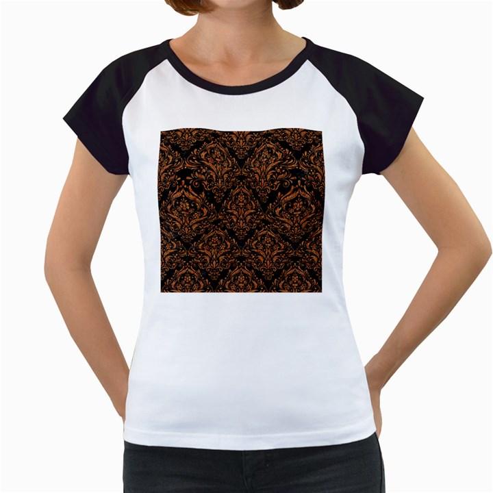 DAMASK1 BLACK MARBLE & RUSTED METAL (R) Women s Cap Sleeve T