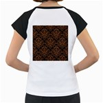 DAMASK1 BLACK MARBLE & RUSTED METAL (R) Women s Cap Sleeve T Back