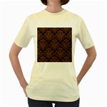 DAMASK1 BLACK MARBLE & RUSTED METAL (R) Women s Yellow T-Shirt Front