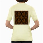 DAMASK1 BLACK MARBLE & RUSTED METAL (R) Women s Yellow T-Shirt Back