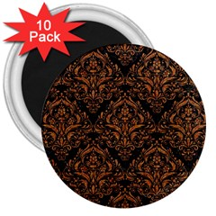 Damask1 Black Marble & Rusted Metal (r) 3  Magnets (10 Pack)  by trendistuff