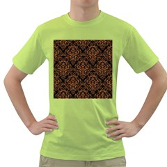 Damask1 Black Marble & Rusted Metal (r) Green T Shirt