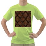 DAMASK1 BLACK MARBLE & RUSTED METAL (R) Green T-Shirt Front