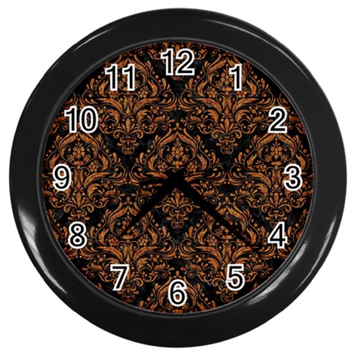 DAMASK1 BLACK MARBLE & RUSTED METAL (R) Wall Clocks (Black)