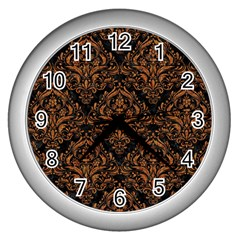 Damask1 Black Marble & Rusted Metal (r) Wall Clocks (silver)  by trendistuff
