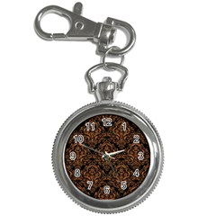 Damask1 Black Marble & Rusted Metal (r) Key Chain Watches by trendistuff