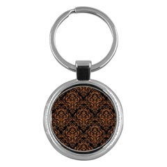 Damask1 Black Marble & Rusted Metal (r) Key Chains (round)  by trendistuff