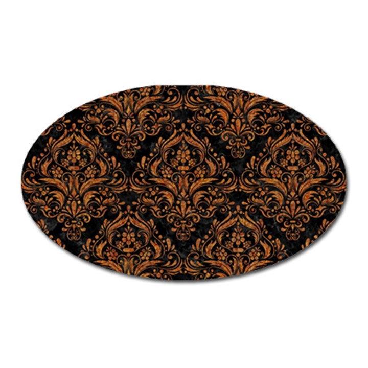 DAMASK1 BLACK MARBLE & RUSTED METAL (R) Oval Magnet