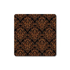 Damask1 Black Marble & Rusted Metal (r) Square Magnet by trendistuff
