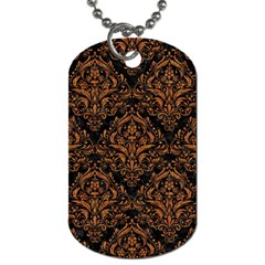 Damask1 Black Marble & Rusted Metal (r) Dog Tag (two Sides) by trendistuff