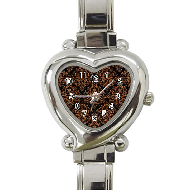 DAMASK1 BLACK MARBLE & RUSTED METAL (R) Heart Italian Charm Watch