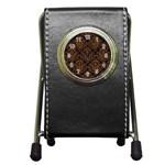 DAMASK1 BLACK MARBLE & RUSTED METAL (R) Pen Holder Desk Clocks Front