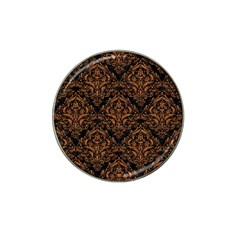 Damask1 Black Marble & Rusted Metal (r) Hat Clip Ball Marker (4 Pack)
