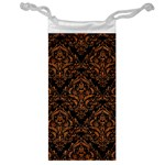 DAMASK1 BLACK MARBLE & RUSTED METAL (R) Jewelry Bag Front