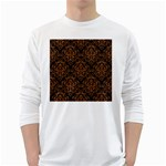 DAMASK1 BLACK MARBLE & RUSTED METAL (R) White Long Sleeve T-Shirts Front