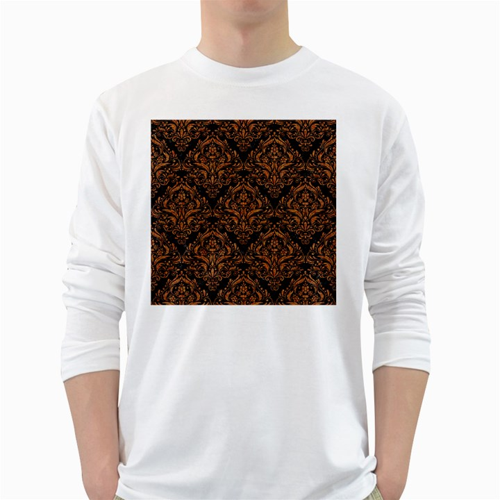 DAMASK1 BLACK MARBLE & RUSTED METAL (R) White Long Sleeve T-Shirts