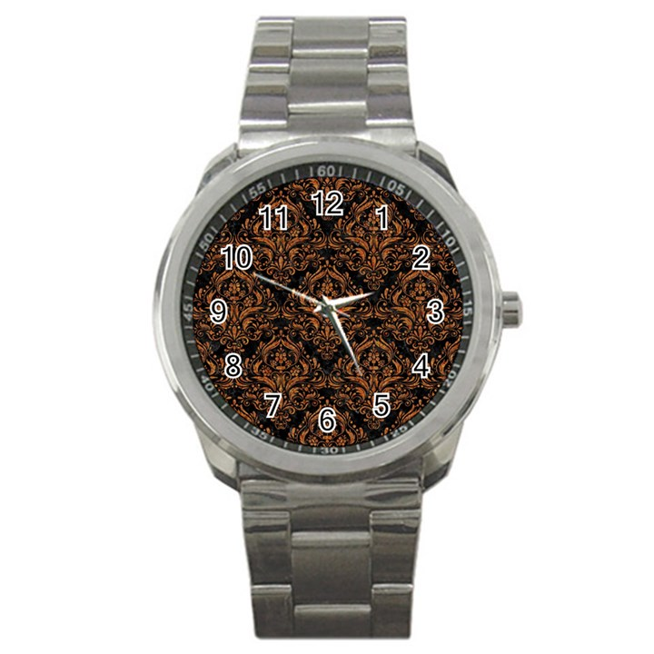 DAMASK1 BLACK MARBLE & RUSTED METAL (R) Sport Metal Watch