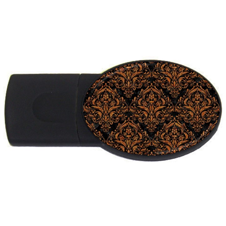 DAMASK1 BLACK MARBLE & RUSTED METAL (R) USB Flash Drive Oval (4 GB)