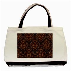 Damask1 Black Marble & Rusted Metal (r) Basic Tote Bag by trendistuff